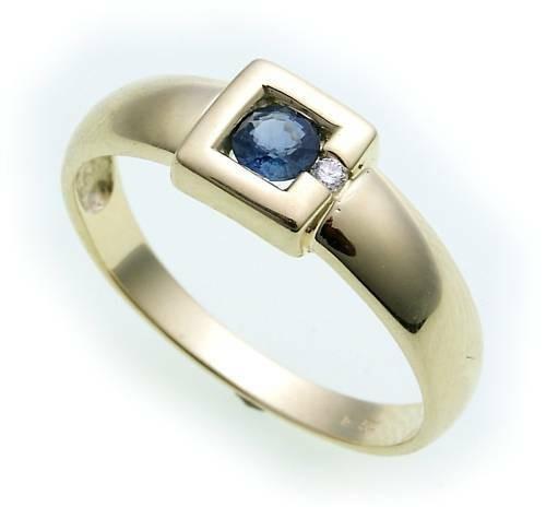 Damen Ring Saphir 4 mm echt Gold 585 14 karat Brillant 0,02ct Gelbgold Diamant