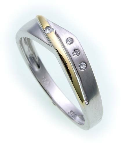 Damen Ring Brillant 0,05ct echt Weißgold 585 Bicolor Gelbgold Diamant Gold SI er