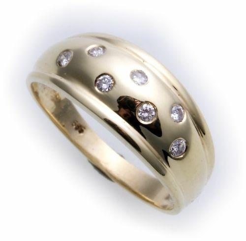 Damen Ring Zirkonia echt Gold 585 massive Qualität Gelbgold Neu