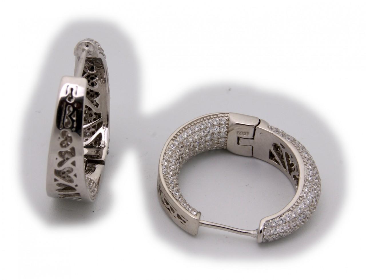 schöne Damen Ohrringe Klapp Creolen echt Silber 925 Sterlingsilber Zirkonia Neu