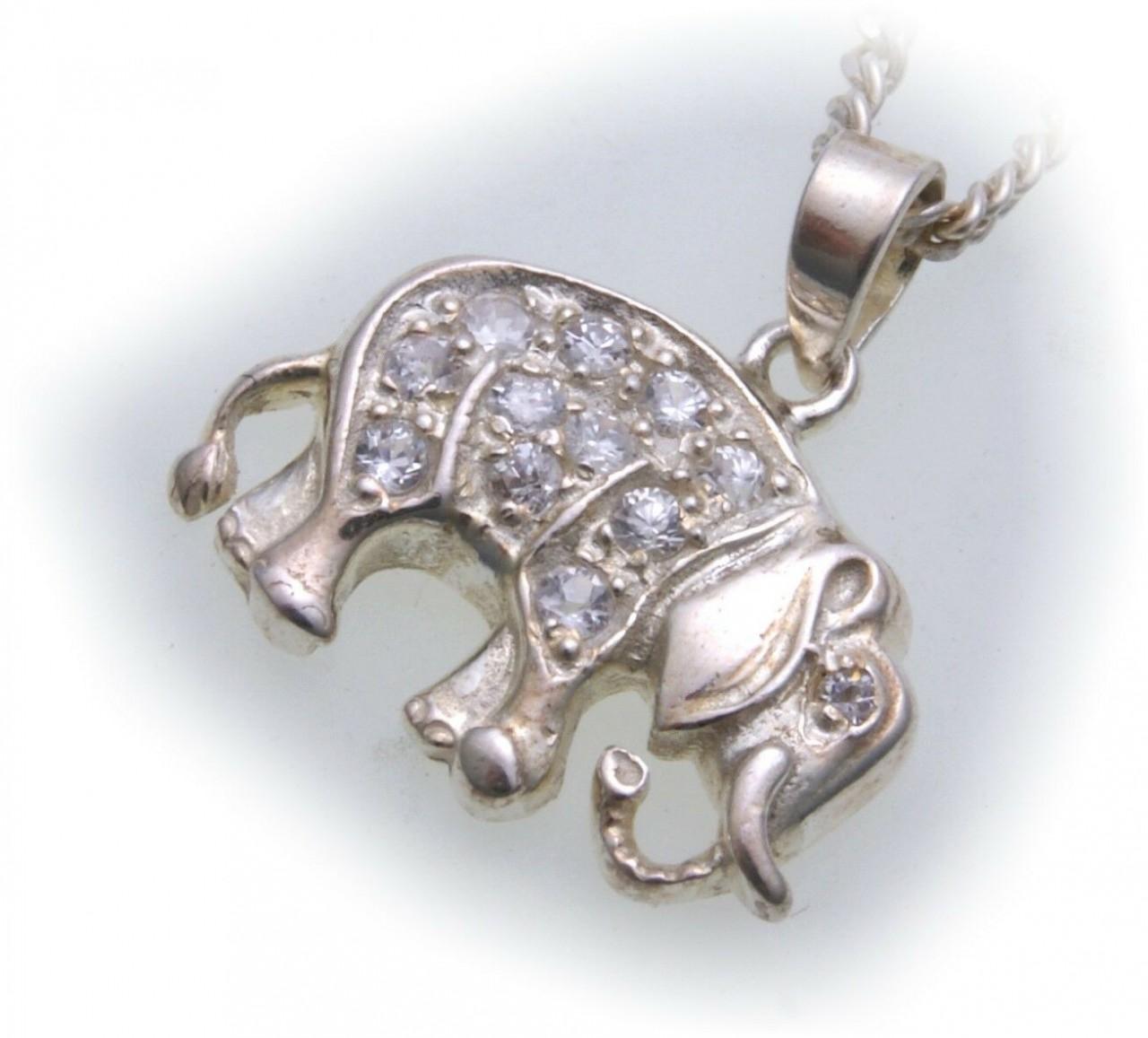Anhänger echt Silber 925 Elefant mit Zirkonia gefasst Sterlingsilber Unisex