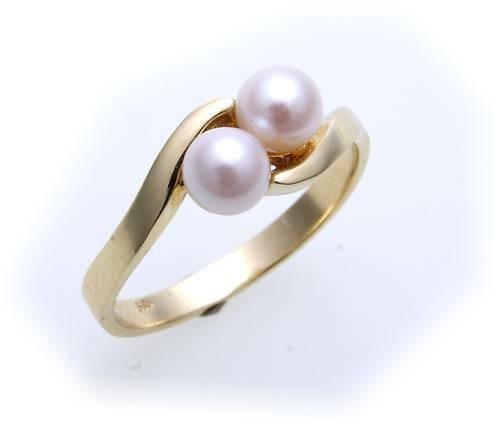 Damen Ring echt Gold 333 Perlen 5 mm Supergünstig Gelbgold Zuchtperle Qualität