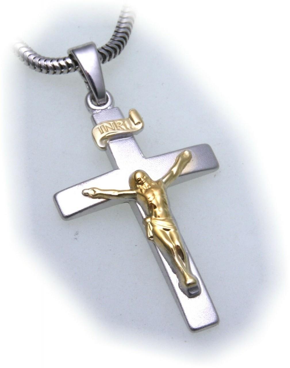 Anhänger Kreuz mit Jesus echt Silber 925 teilvergoldet 31 Sterlingsilber Unisex