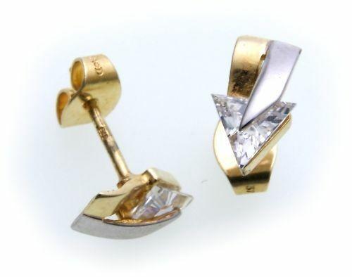 Damen Ohrringe Ohrstecker Gold 375 Zirkonia rhod. Stecker Gelbgold