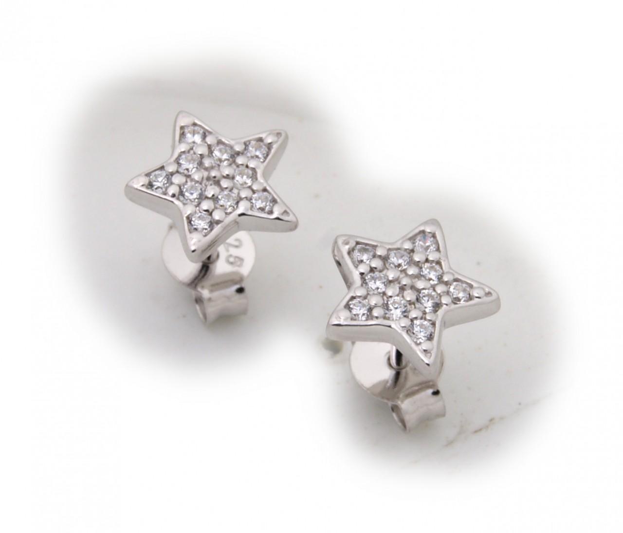 Damen Ohrringe Stern Zirkonia echt Silber 925 Sterlingsilber Ohrstecker Stecker Sternform