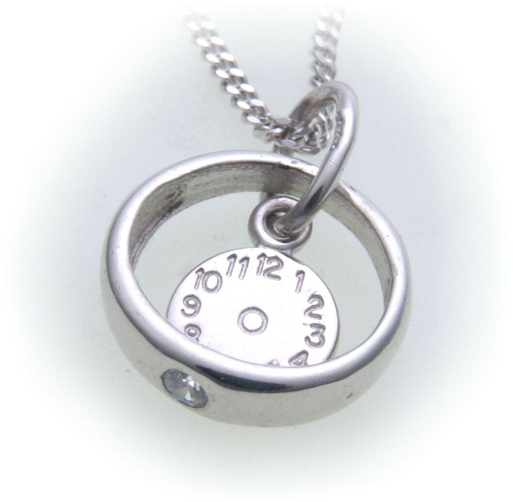 Taufring mit Uhr 585 Weißgold mit Brillant 0,03 ct ohne Kette 14kt Diamant Taufe