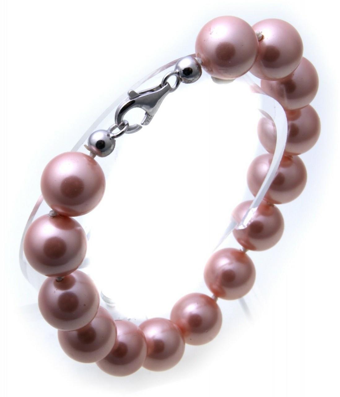 Armband Muschelkernperlen 12 mm pink mit echt Silber 925/- rosa Sterlingsilber