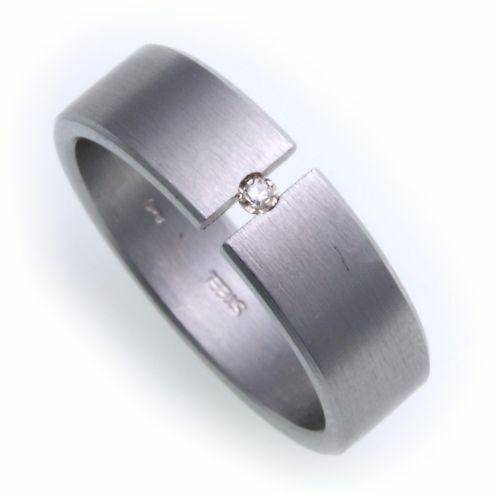 Damenring Ring Edelstahl Brillant 0,01ct matt Spannring D1002 BR Diamant