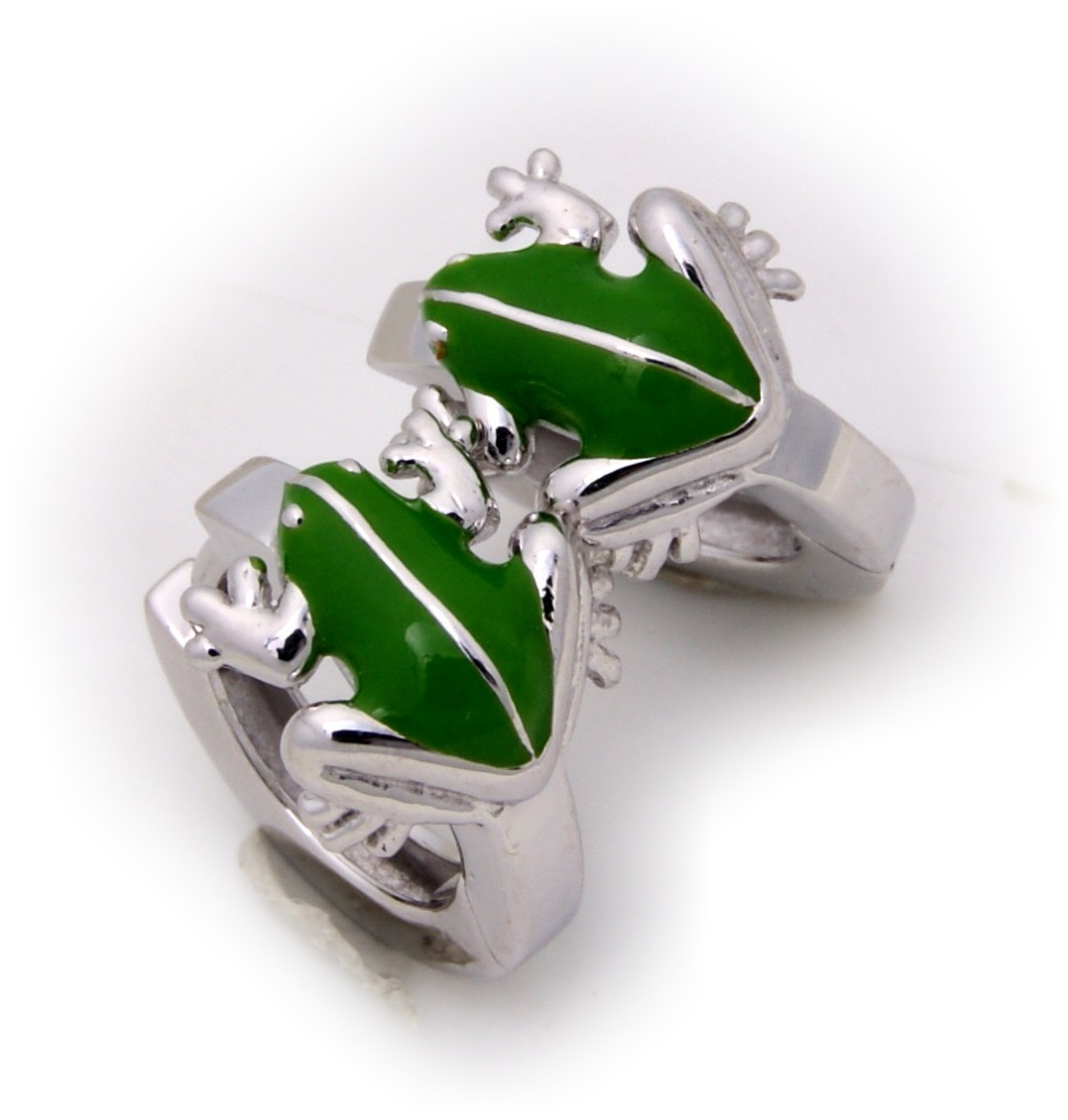 Kinder Ohrringe Klapp Creolen Frosch Silber 925 grün gelackt