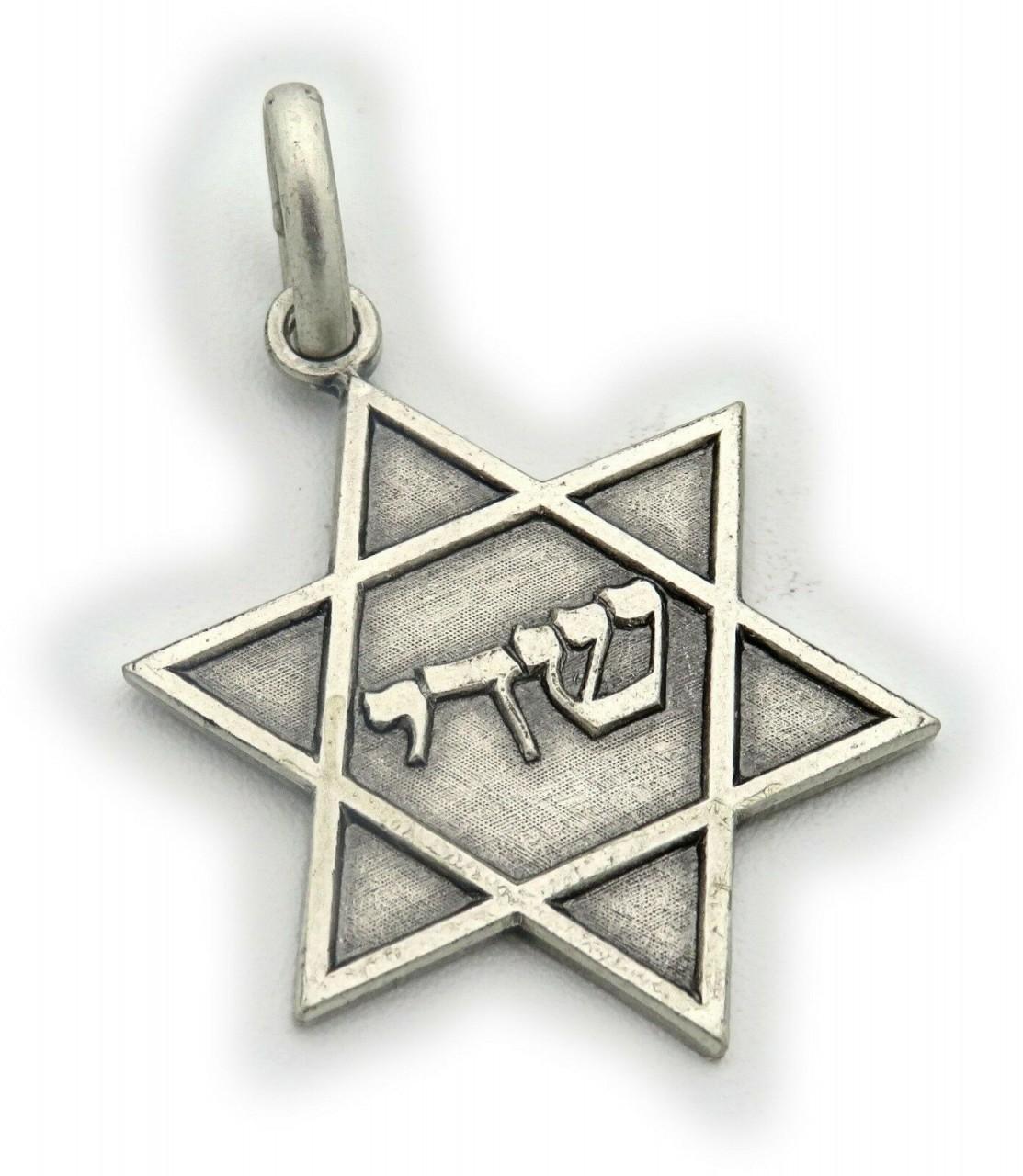 Neu Anhänger echt Silber 925 Davidstern mit Schriftzug mit Kette oder ohne David