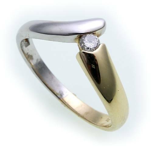 Damen Ring Brillant 0,10ct echt Gold 585 Bicolor Gelbgold Qualität SI Z1562 BR