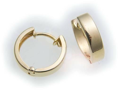Damen Ohrringe Klapp Creolen Gold 585 Glanz eckig 12 mm Gelbgold