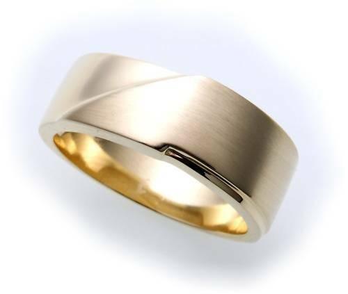 Herren Ring echt Gold 585 teilmattiert massiv Gelbgold massive Qualität