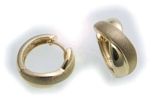 Damen Ohrringe Klapp Creolen echt Gold 333 8 karat gewölbt 14 mm Gelbgold Neu