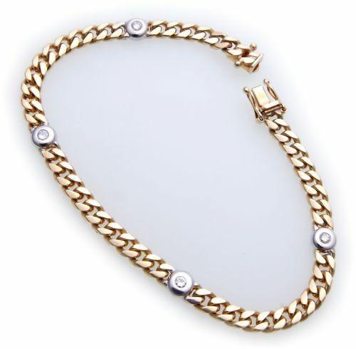Damen Armband Brillant 0,20 ct SI Gold 585 Bicolor Panzerkette Diamant Gelbgold