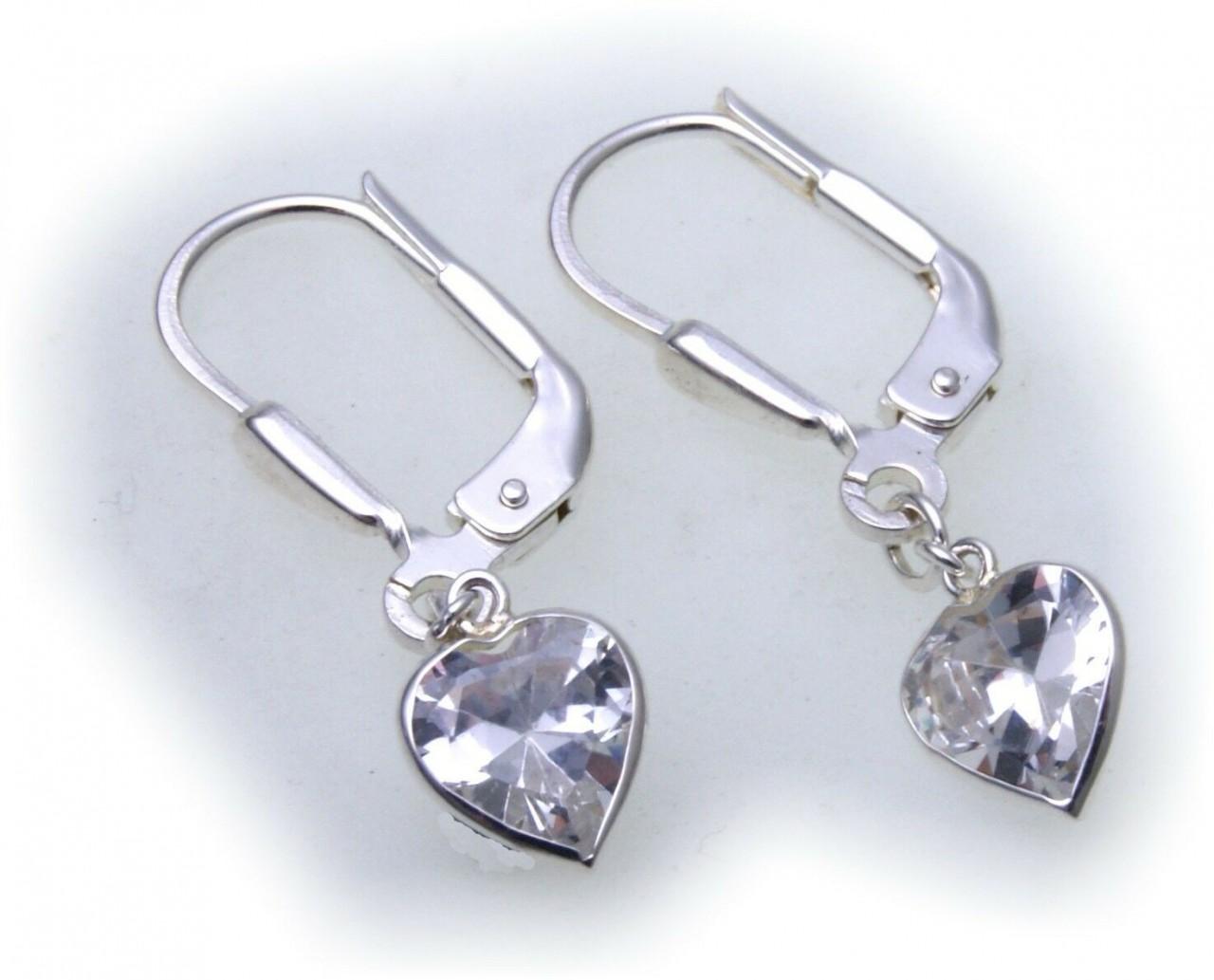 Damen Ohrringe Hänger Herz Zirkonia Silber 925 Ohrhänger Sterlingsilber Z2081 ZI