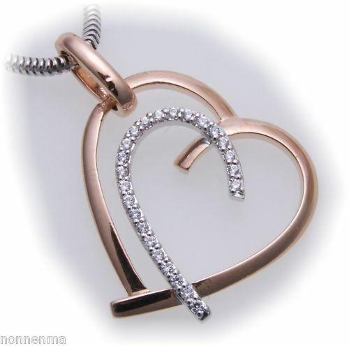 Anhänger Herz mit Brillant 0,13ct echt Rotgold 585 Gelbgold Diamant 585er-Gold