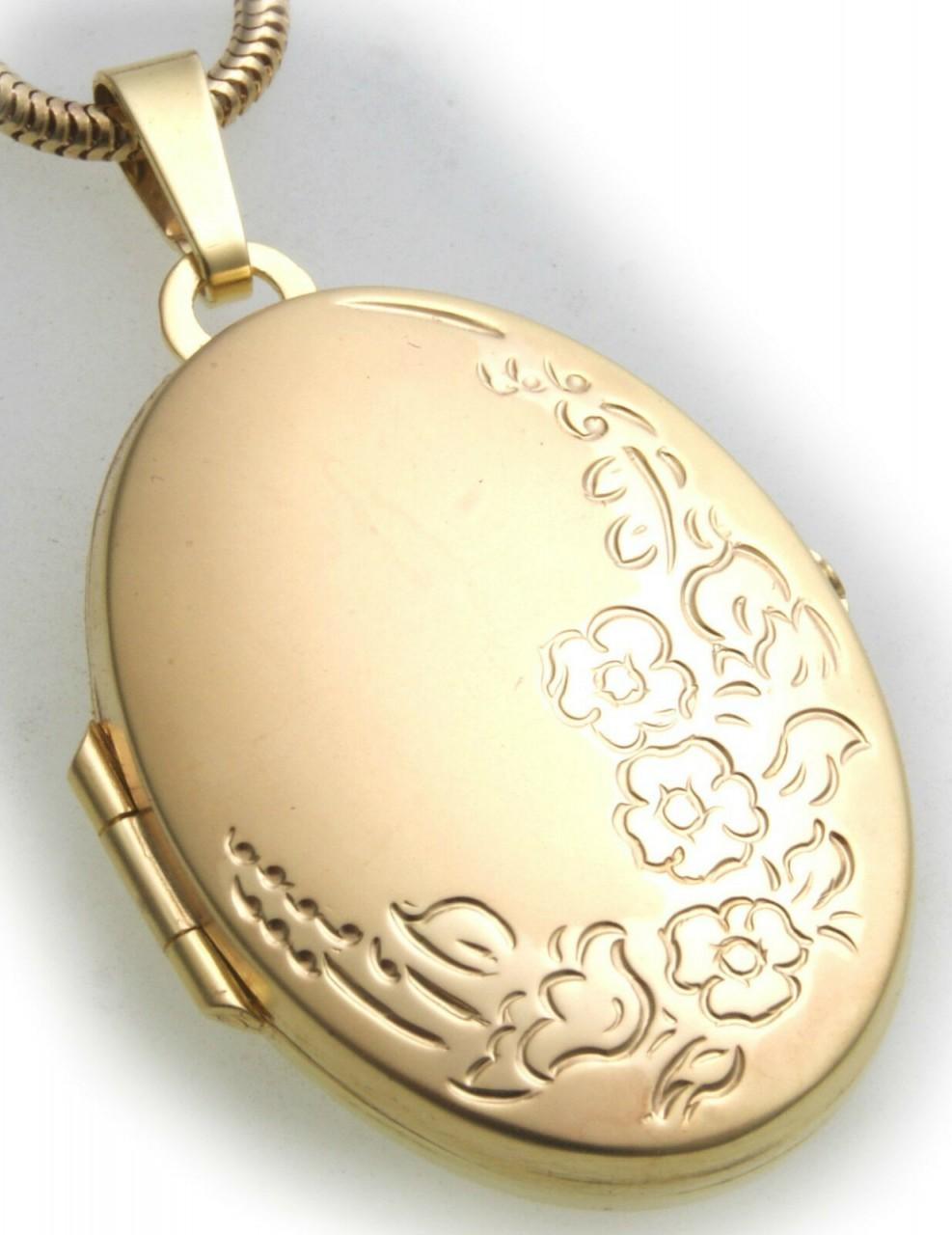 Damen Anhänger Medaillon echt Gold 333 teilmattiert 8kt verziert Gelbgold ME3507