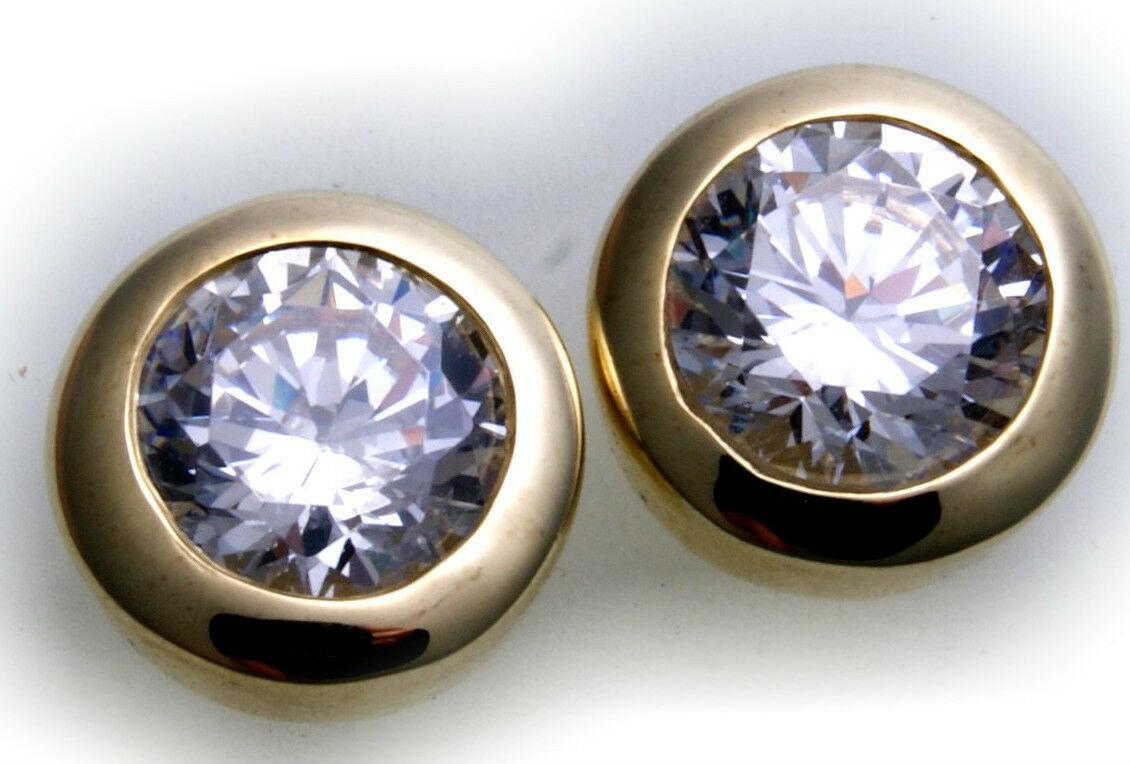 Ohrringe Stecker echt Gold 333 Zirkonia Ohrstecker Gelbgold Damen Qualität 10 mm