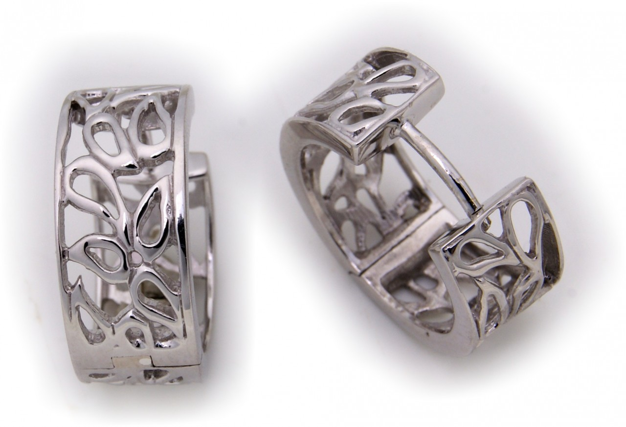 Kopie von Neu Ohrringe Klapp Creolen echt Silber 925 Ajourarbeit 16 mm Sterlingsilber