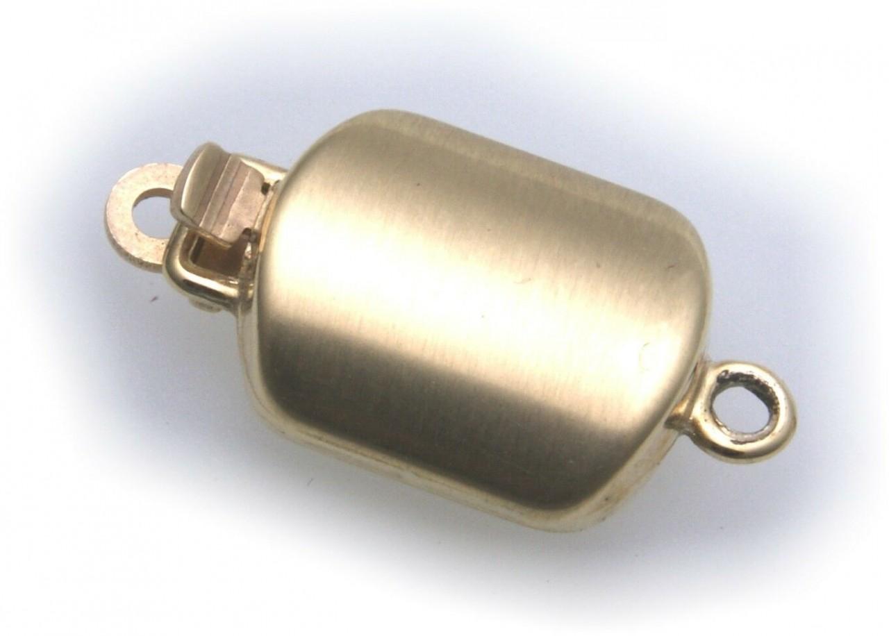 Perlschließe echt Gold 585 Gelbgold eckig matt Steinketten Schließe 14kt Schloß