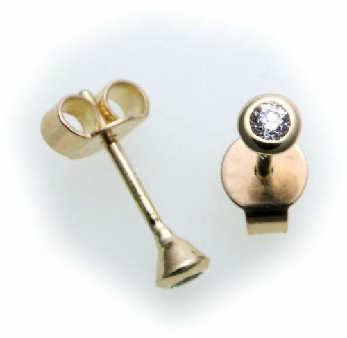 Damen Ohrringe Stecker Gold 585 Gelbgold Brillant 0,10 ct SI Ohrstecker Diamant
