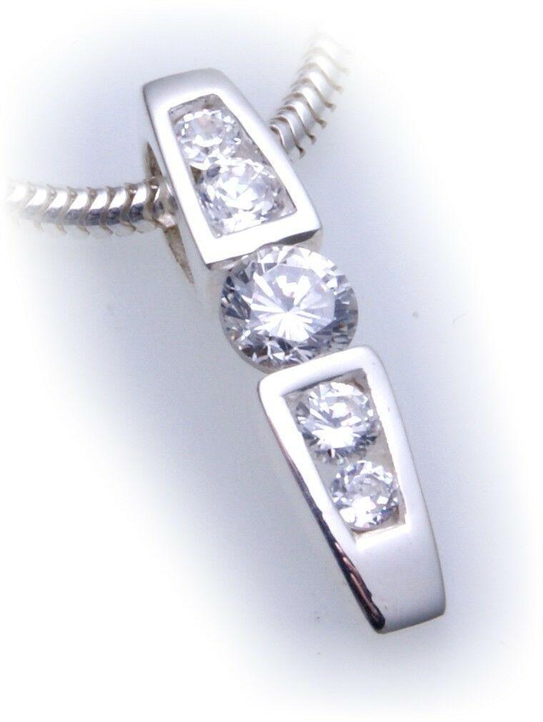 exkl. Damen Anhänger echt Silber 925 mit Zirkonia Glanz Qualität Sterlingsilber