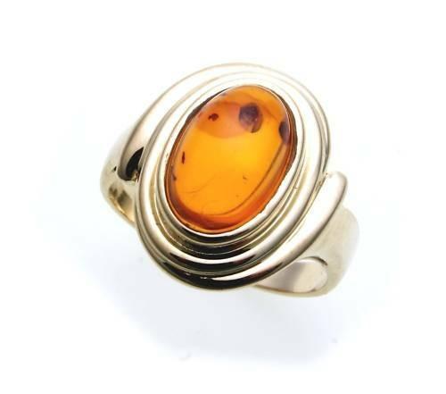 Damen Ring echter Bernstein aus de Ostsee echt Gold 333 Gelbgold 8kt