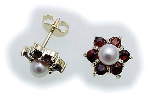 Damen Ohrringe Granat und Zuchtperlen Gold 333 Gelbgold Perlen Ohrstecker 6512/3