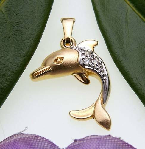 Kinder Anhänger Delfin Zirkonia teilmatt. 333 Gold Gelbgold Qualität