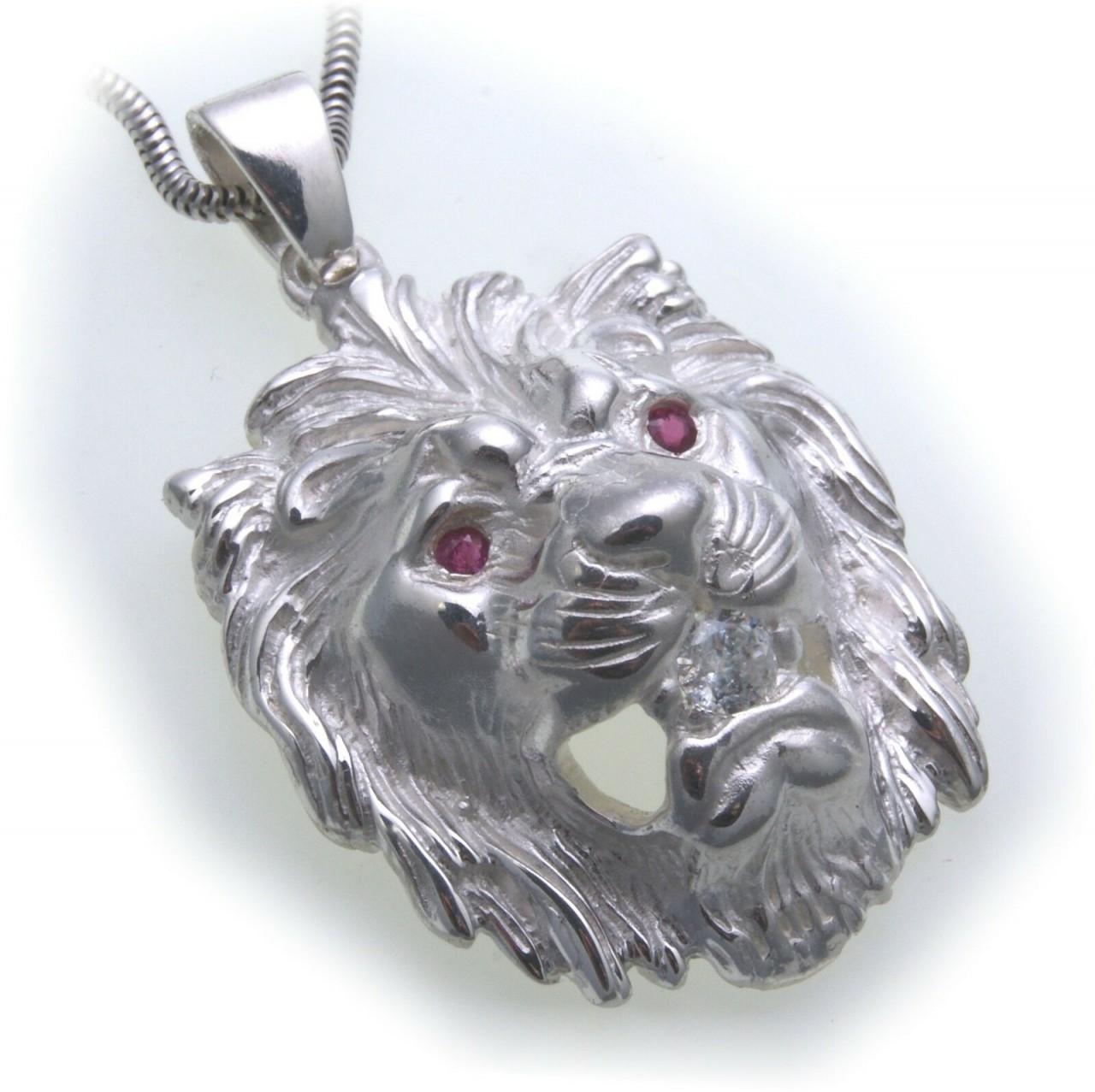 Anhänger Löwe Kopf echt Silber 925 Rubin Zirkonia Raubkatze Sterlingsilber Neu