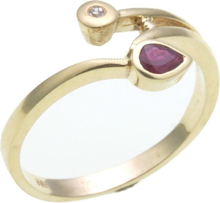 Damen Ring Brillant 0,01 ct. echt Rubin 4 x 3 mm in Gold 585 Gelbgold Diamant