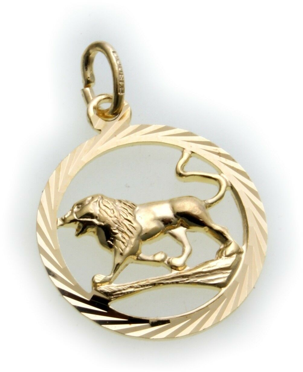 Anhänger Sternzeichen Löwe durchbrochen Double vergoldet plastisch Horoskop