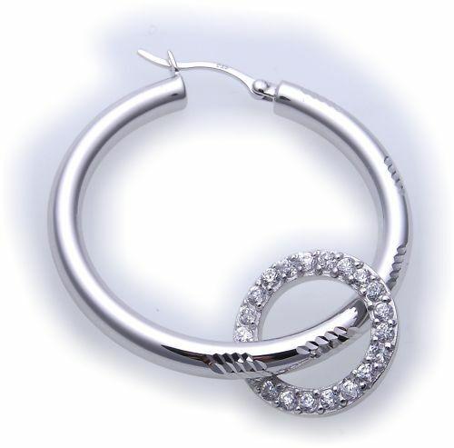 Einhänger für Creolen echt Silber 925/- mit Zirkonia Sterlingsilber Qualität