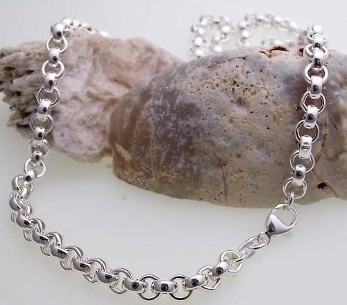 Kette Erbskette echt Silber 925 6,3 mm 60 cm Halskette Sterlingsilber Unisex