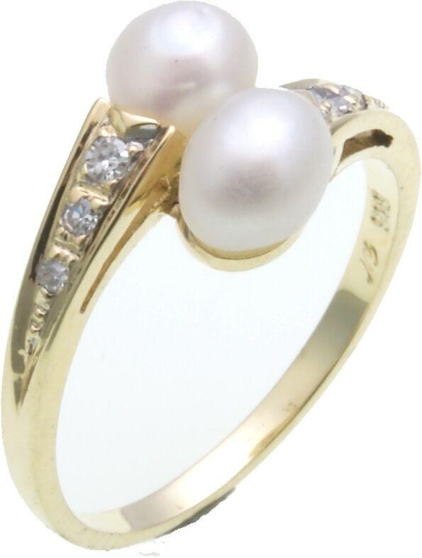 Damen Ring Brillant 0,08 ct. Süßwasserperlen in Gold 333 Gelbgold Diamant