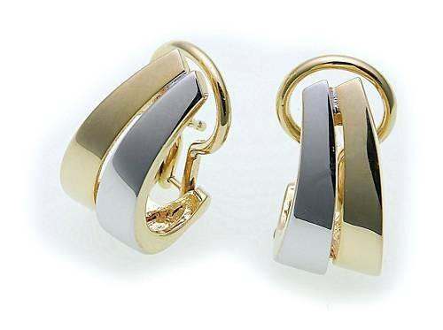 Damen Ohrringe Klapp Stecker echt Gold 750 18 karat Bicolor Gelbgold Clip Neu