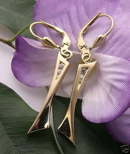 Damen Ohrringe Ohrhänger echt Gold 333 Zirkonia Qualität Gelbgold Hänger matt