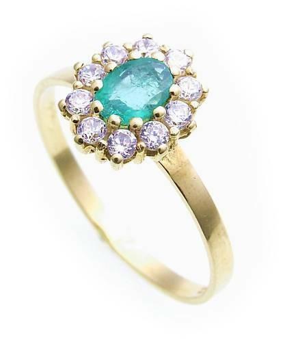 Damen Ring echt Smaragd 6 x 4 echt Gold 333 Zirkonia Gelbgold