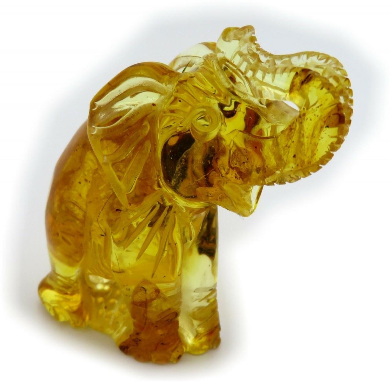 Figur Elefant echter Bernstein aus der Ostsee geschnitz Handarbeit Neu Qualität