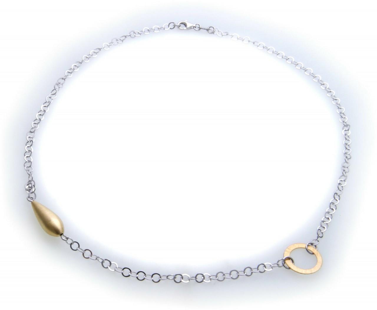 exkl Damen Collier Zirkonia Silber 925 Sterlingsilber Gelbgold besch. Halskette