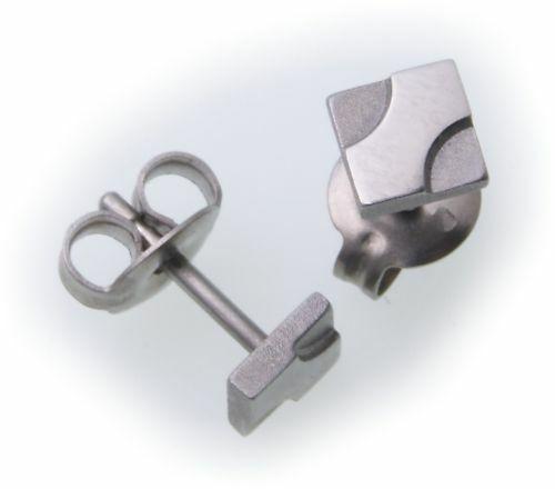 Ohhringe Stecker aus Titan Glanz teilmmatt KN2005