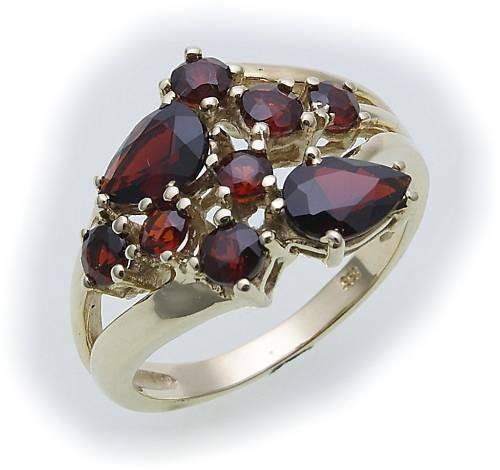 Damen Ring m. Granat in Gold 333 Granatring alle Weiten Gelbgold Qualität 8193/