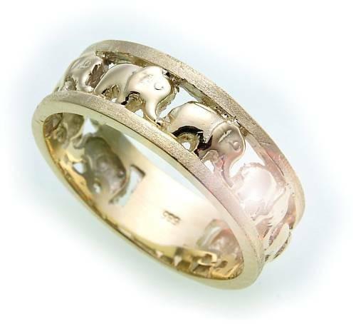 Damen Ring Elefant echt Gold 585 teilmatt Gelbgold 14kt Unisex Qualität