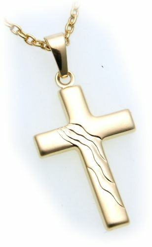 Anhänger Kreuz echt Gold 333 28 mm mattiert verziert Gelbgold Unisex günstig