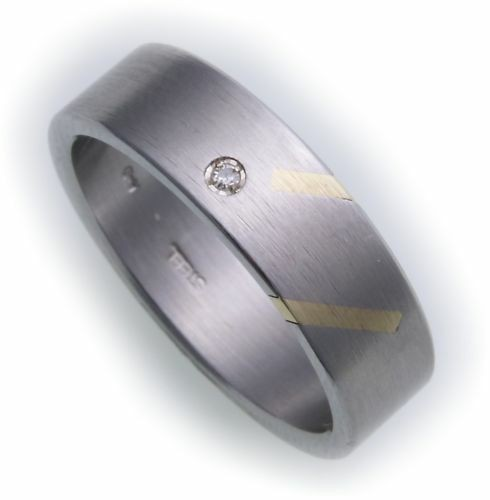 Damenring Ring Edelstahl Brillant 0,02ct m Gold 585