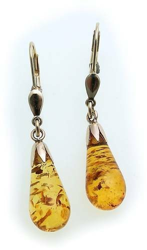 Damen Ohrringe Hänger echt Bernstein Tropfen Gold 333 8 kt 17 mm Gelbgold Pampel