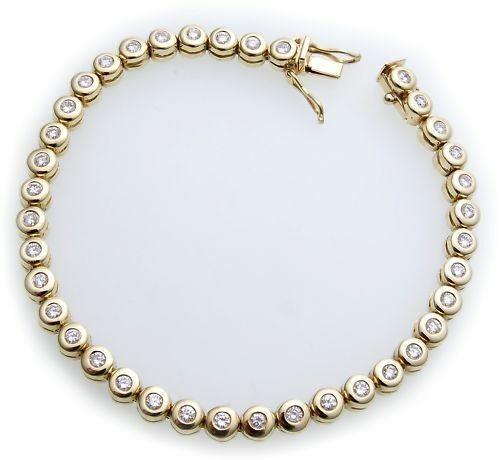 Damen Armband Brillant 1,60 ct w si echt Gold 585 Tennisarmband Diamant Gelbgold