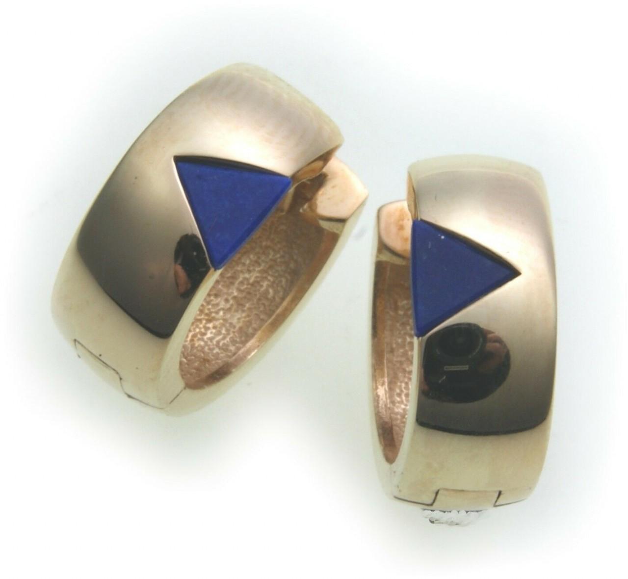 Damen Ohrringe Klapp Creolen Gold 333 mit Lapis 15mm Gelbgold Klappcreolen Blau