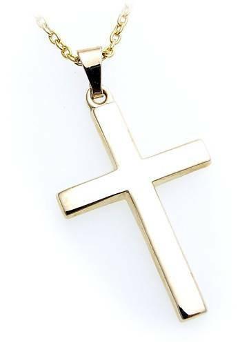 Anhänger Kreuz echt Gold 585 poliert 34 mm günstig Gelbgold Unisex